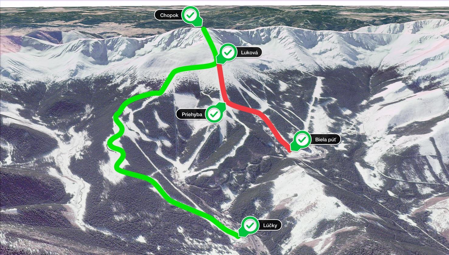 Mapa strediska Jasná Nízke Tatry so značenými chodníkmi pre skialpinistov